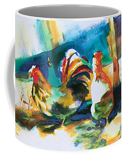 Coffee Mug featuring the painting Veridian Chicken by Kathy Braud