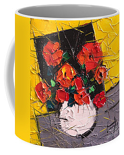 Vermilion Flowers On Black Square Coffee Mug