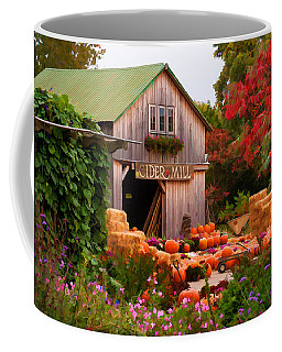 Coffee Mug featuring the photograph Vermont Pumpkins And Autumn Flowers by Jeff Folger