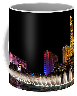 Vibrant Las Vegas - Bellagio's Fountains Paris Bally's And Flamingo Coffee Mug