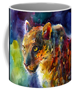 Vibrant Watercolor Leopard Wildlife Painting Coffee Mug