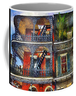 Coffee Mug featuring the photograph Vieux Carre' Balconies by Tammy Wetzel