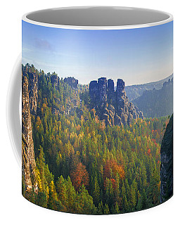 View From The Bastei Bridge In The Saxon Switzerland Coffee Mug
