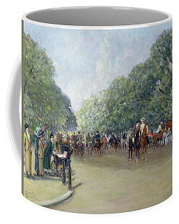 View Of Hyde Park With Figures On Rotten Row  Coffee Mug