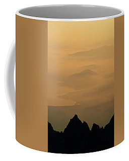 View Of Mist Over Lake And Hills Coffee Mug