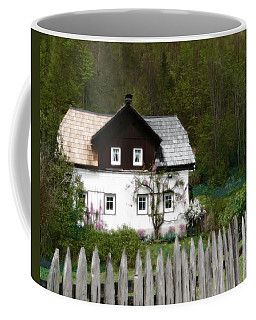 Vine Covered Cottage With Rustic Wooden Picket Fence Coffee Mug
