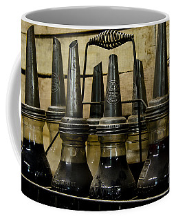 Coffee Mug featuring the photograph Vintage Glass  Motor Oil Bottles by Wilma  Birdwell