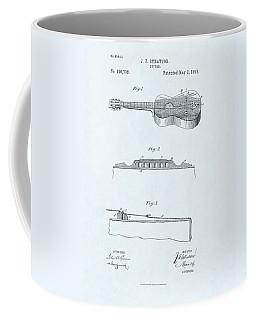 Guitar Patent Drawing On Blue Background Coffee Mug