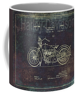 Vintage Harley - Davidson Motorcycle Patent Drawing Coffee Mug