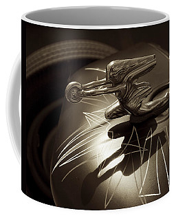 Coffee Mug featuring the photograph Vintage Hood Ornament - Sepia Art Decoprint by Jane Eleanor Nicholas