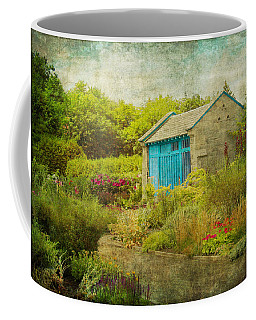 Vintage Inspired Garden Shed With Blue Door Coffee Mug