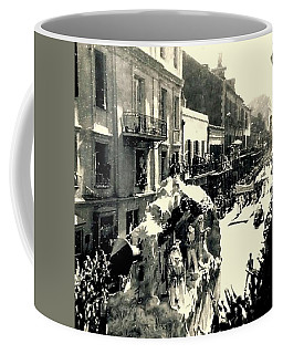 Coffee Mug featuring the photograph New Orleans Vintage Mardi Gras In The French Quarter Of  Louisiana  1960 by Michael Hoard