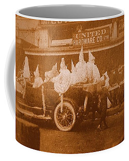 Coffee Mug featuring the photograph New Orleans Vintage Mardi Gras Parade On Canal Street Circa 1920's by Michael Hoard