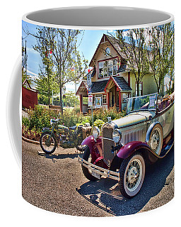 Vintage Model A Ford With Motorcyle Coffee Mug