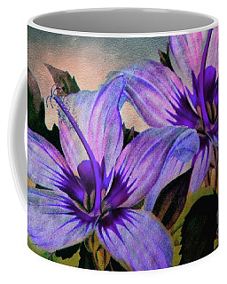 Coffee Mug featuring the photograph Vintage Painted Lavender Lily by Judy Palkimas