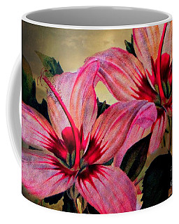 Coffee Mug featuring the photograph Vintage Painted Pink Lily by Judy Palkimas