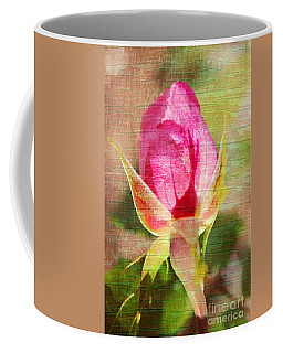 Coffee Mug featuring the photograph Vintage Pink Rose Bud by Judy Palkimas