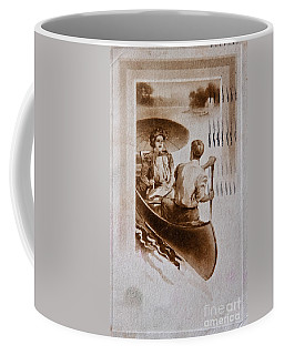 Vintage Post Card Of Couple In Boat Art Prints Coffee Mug by Valerie Garner