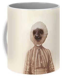 Vintage Sloth Girl Portrait Coffee Mug by Brooke T Ryan