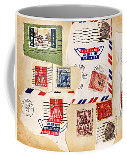 Coffee Mug featuring the photograph Vintage Stamps On Old Postcard by Vizual Studio