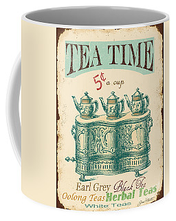 Vintage Tea Time Sign Coffee Mug by Jean Plout