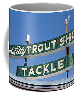 Vintage Trout Shop Sign West Yellowstone Coffee Mug