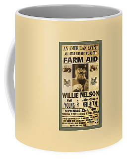Vintage Willie Nelson 1985 Farm Aid Poster Coffee Mug by John Stephens