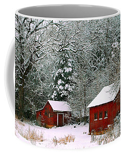 Coffee Mug featuring the photograph Vintage Winter Barn  by Peggy Franz