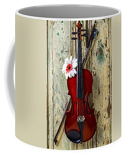 Violin On Old Door Coffee Mug