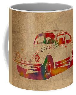 Volkswagen Beetle Vintage Watercolor Portrait On Worn Distressed Canvas Coffee Mug