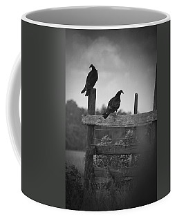 Coffee Mug featuring the photograph Vultures On Fence by Bradley R Youngberg