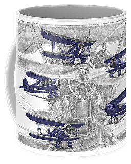 Wacos - Vintage Biplane Aviation Art With Color Coffee Mug