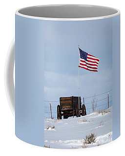 Coffee Mug featuring the photograph Wagon And Flag by Michael Chatt