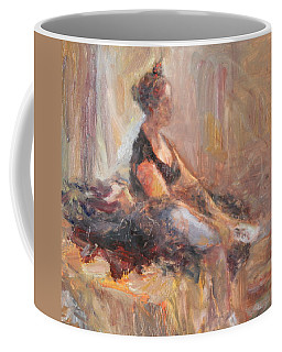 Waiting For Her Moment - Impressionist Oil Painting Coffee Mug by Quin Sweetman