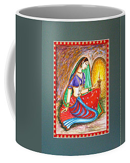 Coffee Mug featuring the painting Waiting  by Harsh Malik