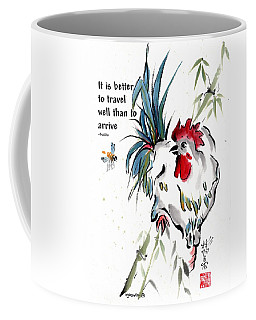Coffee Mug featuring the painting Walkabout With Buddha Quote I by Bill Searle