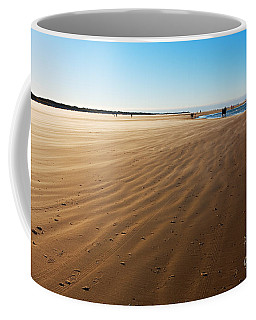 Walking On Windy Beach. Coffee Mug