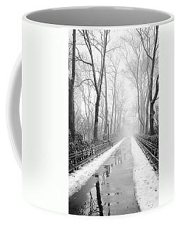 Walkway Snow And Fog Nyc Coffee Mug