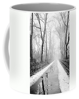Walkway Snow And Fog Nyc Coffee Mug