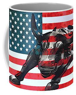 Wall Street Bull American Flag Coffee Mug