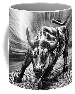 Wall Street Bull Black And White Coffee Mug by Wes and Dotty Weber