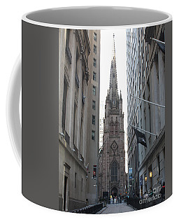 Wall Street Leading To Trinity Church Coffee Mug by John Telfer