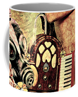Coffee Mug featuring the mixed media War Dreams by Ally  White