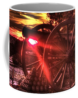 Coffee Mug featuring the photograph War Thunder - Union Artillery At The Copse Of Trees Mid-autumn Snow Sunset Gettysburg by Michael Mazaika