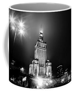 Warsaw Poland Downtown Skyline At Night Coffee Mug