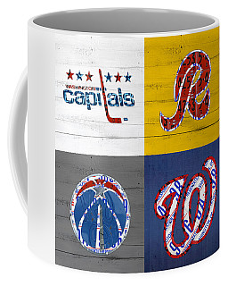 Washington Dc Sports Fan Recycled Vintage License Plate Art Capitals Redskins Wizards Nationals Coffee Mug