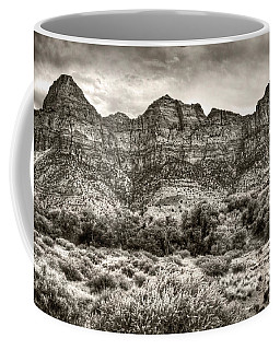 Coffee Mug featuring the photograph Watchman Trail In Sepia - Zion by Tammy Wetzel