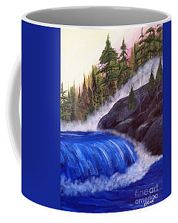 Coffee Mug featuring the painting Water Fall By Rocks by Brenda Brown