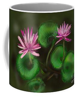Coffee Mug featuring the digital art Water Lilies by Christine Fournier