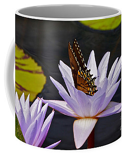 Water Lily And Swallowtail Butterfly Coffee Mug